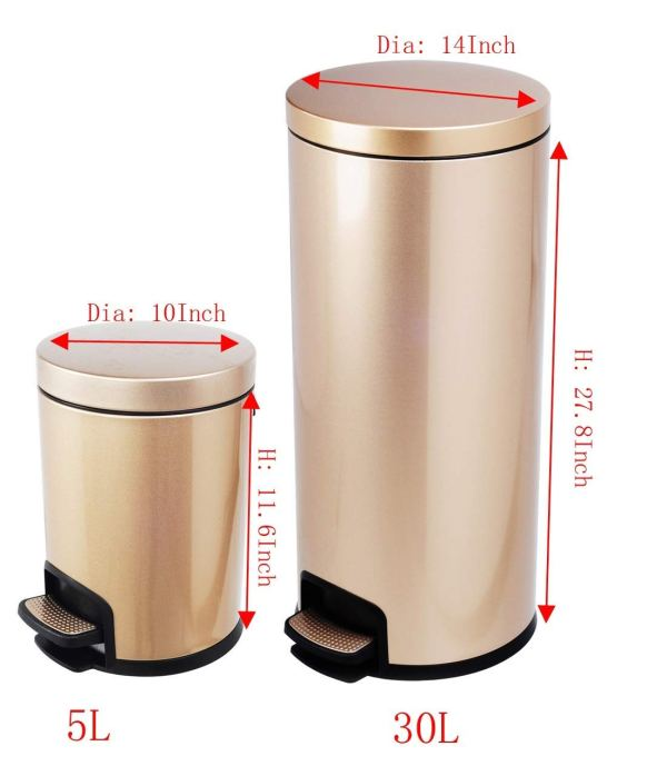 AMENITIES DEPOT Luxurious Stainless Steel Trash Can Garbage Bin Waste Receptacle (5L+30L)7