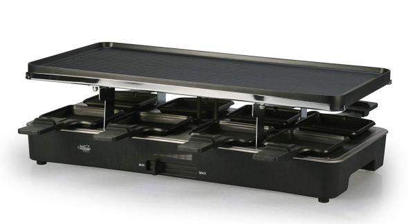 Artestia Raclette Grill elétrico com duas placas de topo de tamanho completo 3