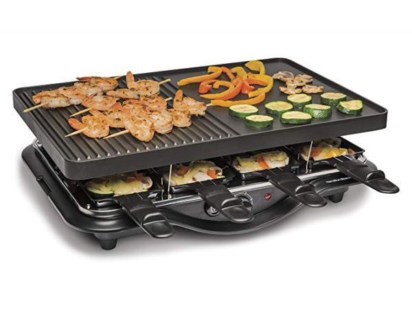 Hamilton Beach 31612-MX Raclette Indoor Grill, 200 Square Inch Nonstick, Black