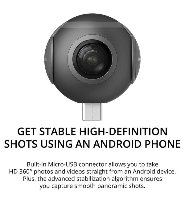 Insta360 Air Camera for Android Smartphone and Laptop -INCLUDES- ZEISS VR ONE Plus Virtual Reality Headset, Blucoil Micro USB Adapter AND 5 Pack of Cable Ties2