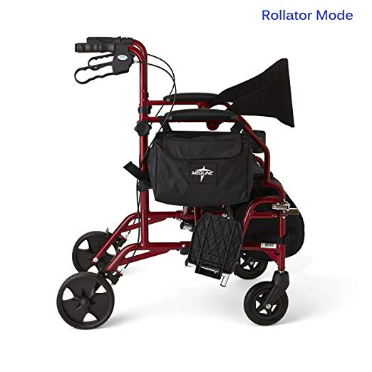 Medline Red Combination Rollator and Transport Chair, Desk-Length Arms, Swing Away Footrests, Red Frame3