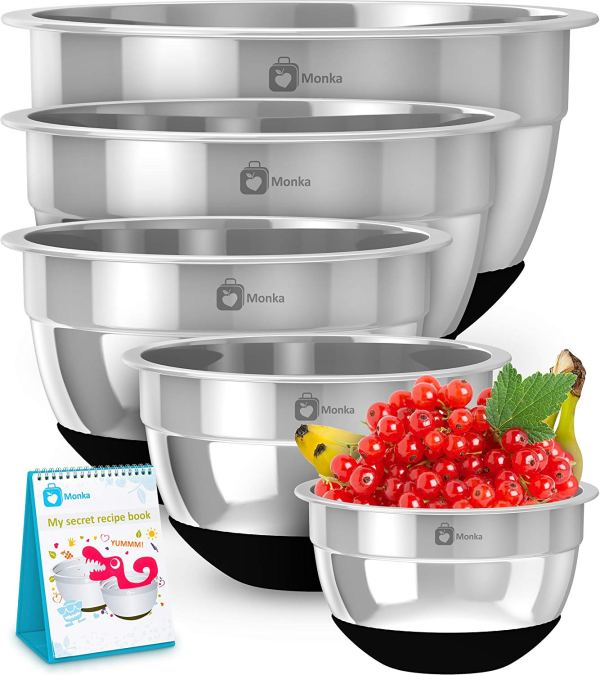 Premium Stainless Steel Mixing Bowls With Non Slip Bottom (Set of 5).