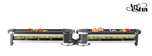 Artestia Electric Dual Raclette Grill with Cast Aluminum Reversible Grill Plate, Easy Setup in 360° Rotation, Serve the whole family (Reversible Aluminum Grill Plate)3
