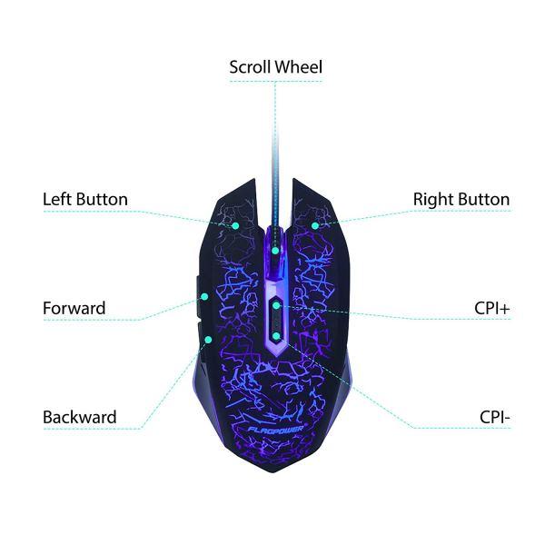 FLAGPOWER Gaming Keyboard Mouse Combo LED Backlit Mechanical Feeling Bundle Set Metal Aluminum-Alloy Phone Holder Computer PC Games Office(New Version)5