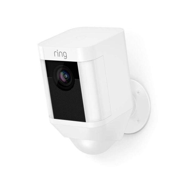 Câmara de Segurança Ring Spotlight Cam com Bateria HD com Conversação Bidireccional Integrada e Alarme Sirene, Branco, Funciona com o Alexa
