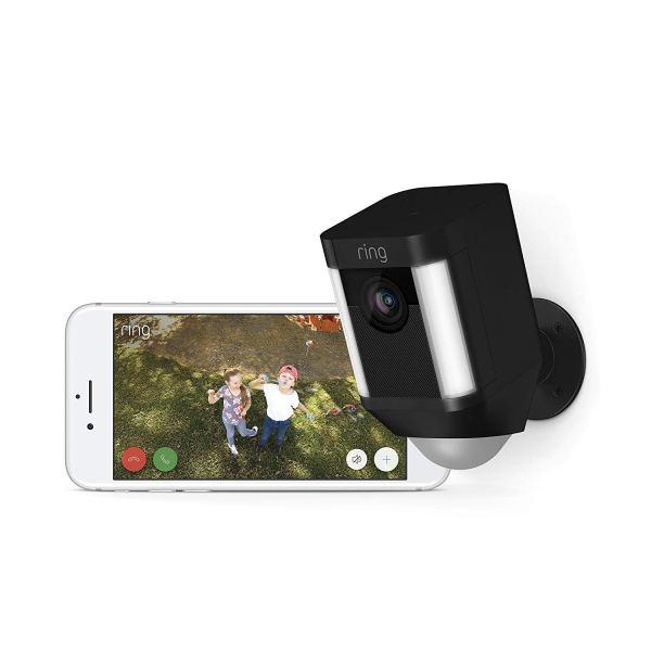 Câmara de Segurança Ring Spotlight Cam com Bateria HD com Conversação Bidireccional Integrada e Alarme Sirene, Preto, Funciona com o Alexa3