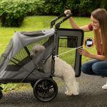 Pet Gear NO-Zip Stroller, Botão Zipperless Entrada Dupla, para3
