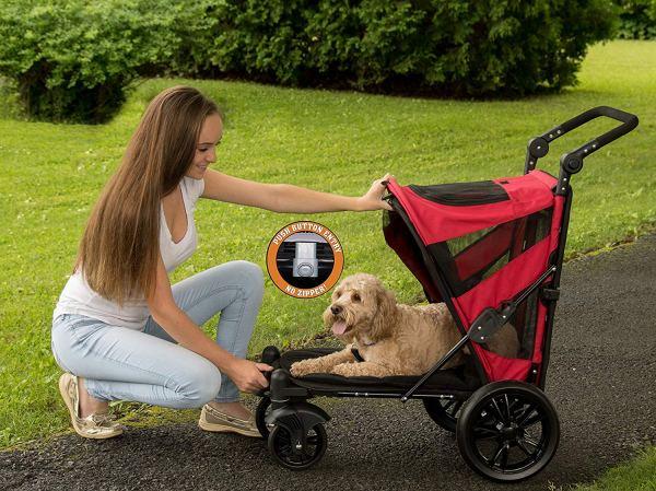 Pet Gear NO-Zip Stroller, Push Button Zipperless Dual Entry, for Single 2