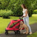 Pet Gear NO-Zip Stroller, Push Button Zipperless Dual Entry, for Single 4