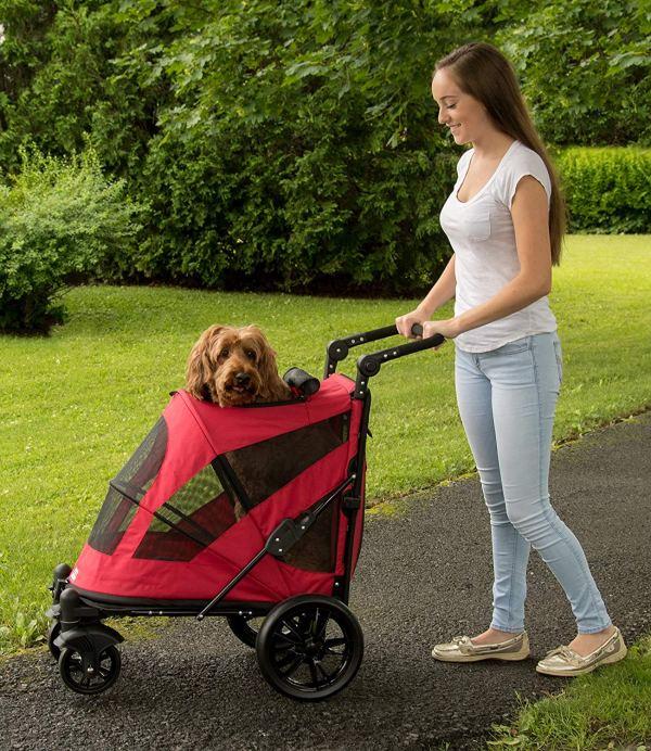 Pet Gear NO-Zip Stroller, Push Button Zipperless Dual Entry, for Single 5