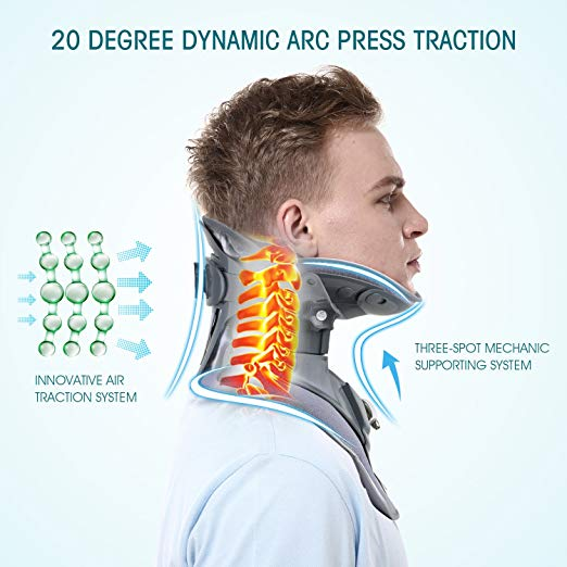 Hangsun Cervical Neck Traction Device and Inflatable Adjustable Neck Brace Collar, Patented FDA Approved Medical Therapy Unit for Neck Pain Relief 3