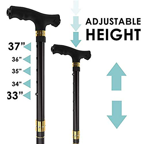 Bago Folding Walking Cane with Led Light and Tripod Pivot Base for All Terrain Grip – Canes are Lightweight and Collapsible to Pack Small for Travel and Store 3