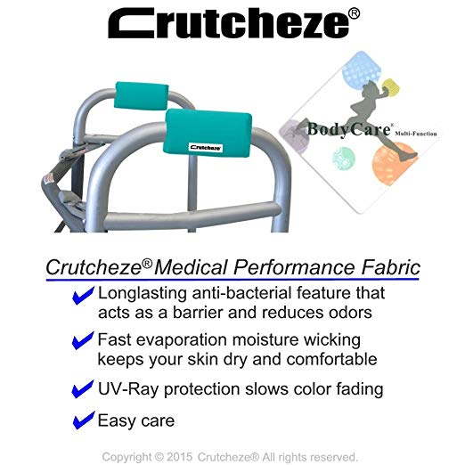 Crutcheze Turquoise Walker Padded Hand Grip Covers Made in USA Moisture Wicking, Antibacterial, Comfort, Fashion, Washable Orthopedic Products Accessories 3