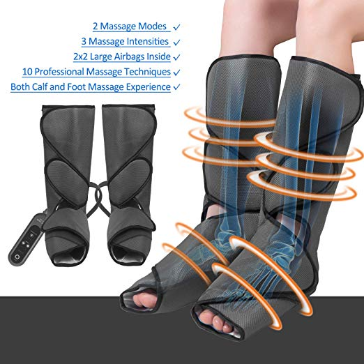 FIT KING Leg Air Massager for Foot and Calf Circulation Massage with Handheld Controller 3 Intensities 2 Modes(with 2 Extensions) 3