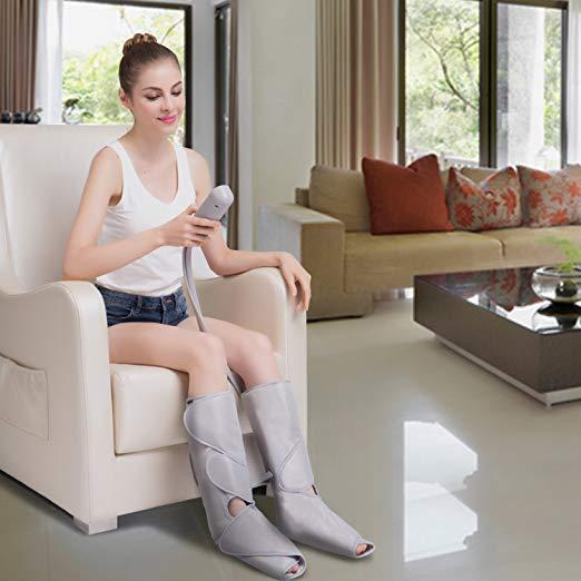 FIT KING Massageador Perna de Compressão de Ar para Circulação de Pés e Bezerras Massagem com Controlador de Mão 2 Modos 3 Intensidades (com 2 Extensões) 2