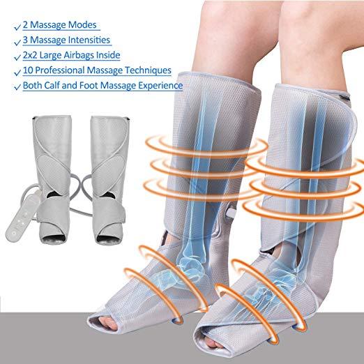 FIT KING Massageador Perna de Compressão de Ar para Circulação de Pés e Bezerras Massagem com Controlador de Mão 2 Modos 3 Intensidades (com 2 Extensões) 3