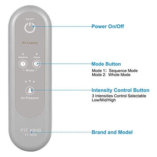 FIT KING Massageador Perna de Compressão de Ar para Circulação de Pés e Bezerras Massagem com Controlador de Mão 2 Modos 3 Intensidades (com 2 Extensões) 4