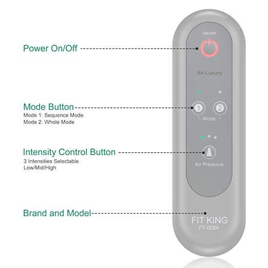 FIT REI Leg Air Massageador para Massagem Circulação Compressão Sequencial Wraps com Controlador de Mão 2 Modos 3 Intensidades 2