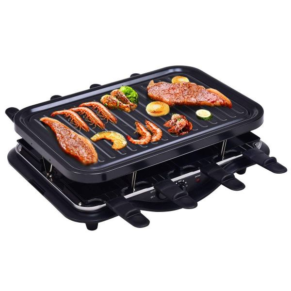 Racleteira para 8 pessoas Costzon Raclette Grill, 1200W for 8 People Non Stick Cooktop