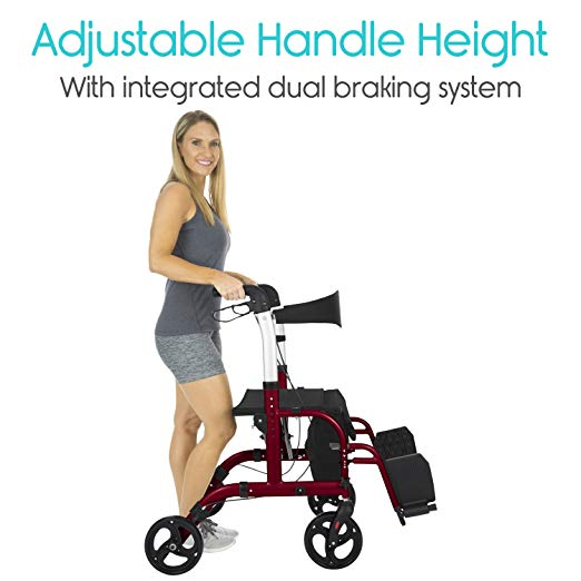Vive Rollator Walker with Seat – Wheelchair Transport Chair4
