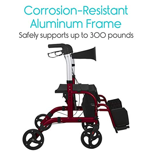 Vive Rollator Walker with Seat – Wheelchair Transport Chair7