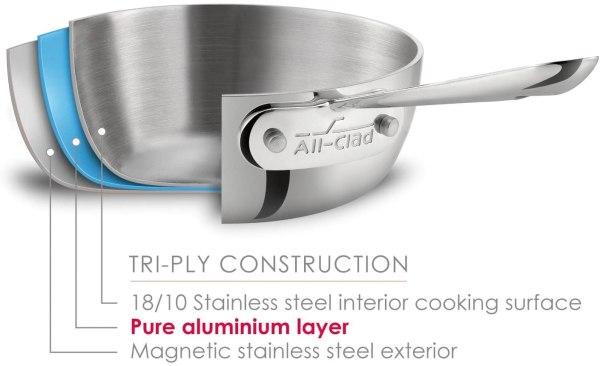 Frigideira all clad d3 com tampa totalmente revestida aço inoxidável2