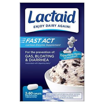 Suplemento enzimático de lactase natural Lactaid Fast Act – 120 cápsulas