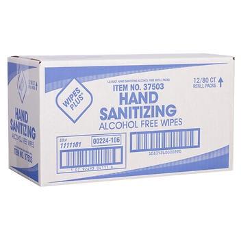 Toalhetes higiênicos para as mãos WipesPlus, 80 toalhetes, 12 contagens