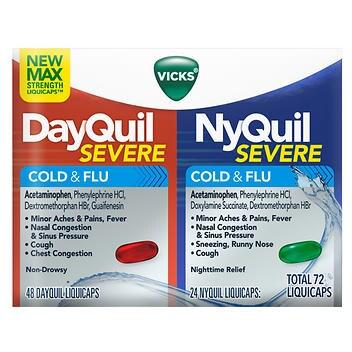 Vicks Severe DayQuil e NyQuil tosse resfriado e alívio da gripe – 72 LiquiCaps