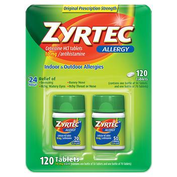 Zyrtec Anti-histamínico Cetirizina -10 mg., 120 comprimidos