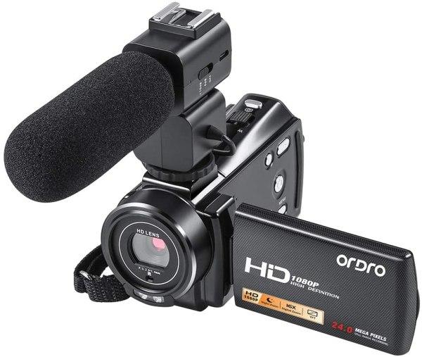 Filmadora Ordro Fhd 1080p 30fps 24mp 16gb Sd Card 2 Baterias