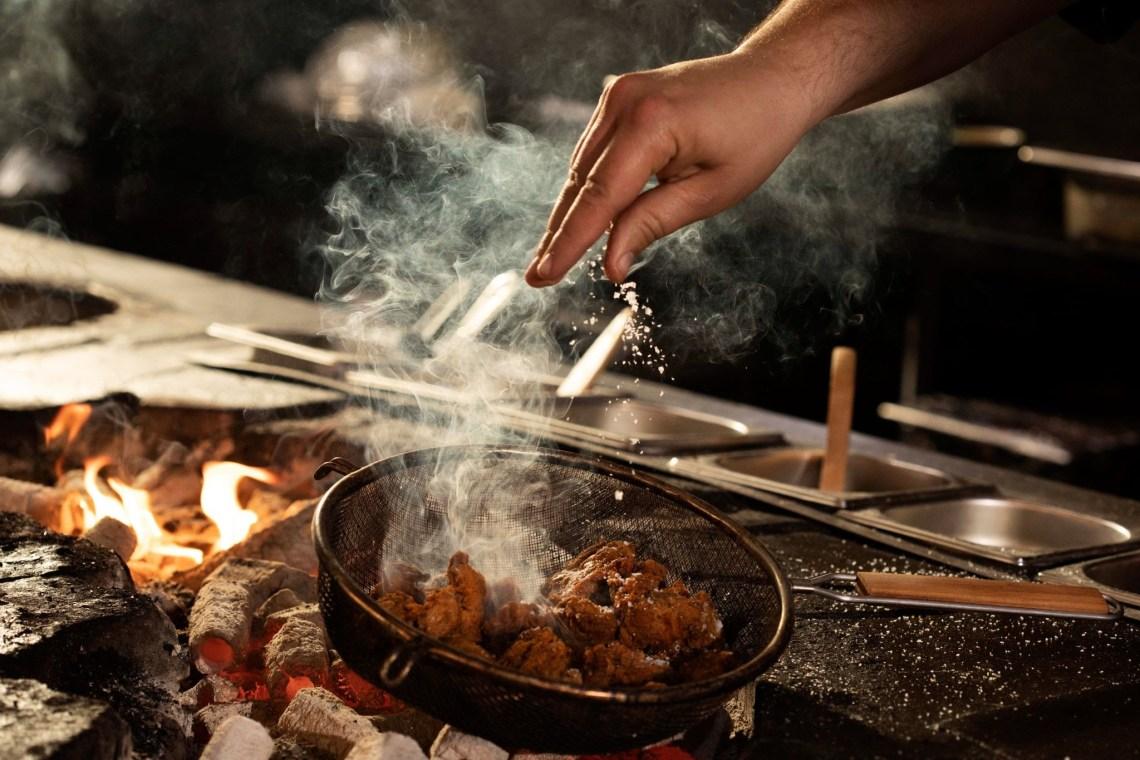 BBQ Chicken Karaage action shot