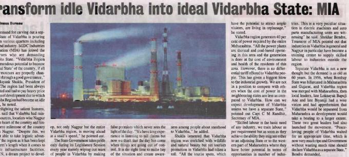 Press Release of Transform Idle Vidarbha Region to Ideal Vidarbha State