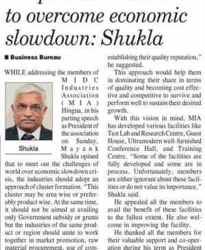 Adopt cluster culture to overcome economic slowdown - Shukla