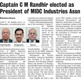 Captain C M Randhir elected as President of MIDC Industries Association