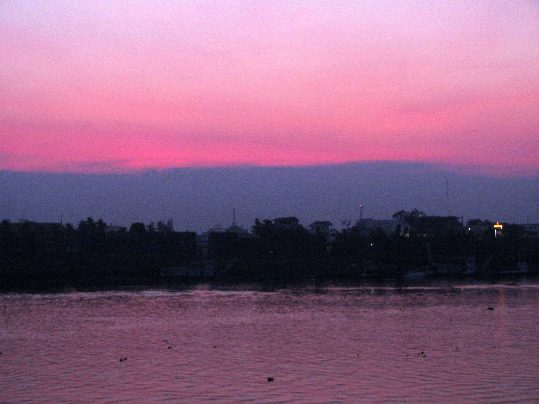 Sunset on the Tonle Sap river, Phnom Penh, Cambodia