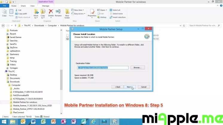 Mobile Partner Installation on Windows 8: Step 5