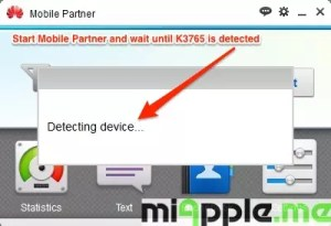 Huawei / Vodafone K3765-HV Installation on Windows 8 / 8.1: Start Mobile Partner and wait until K3765 is detected
