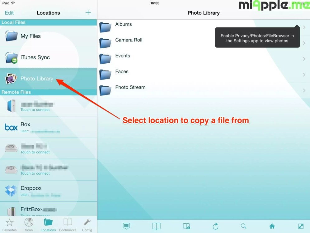 FileBrowser copying files: Select location to copy a file from