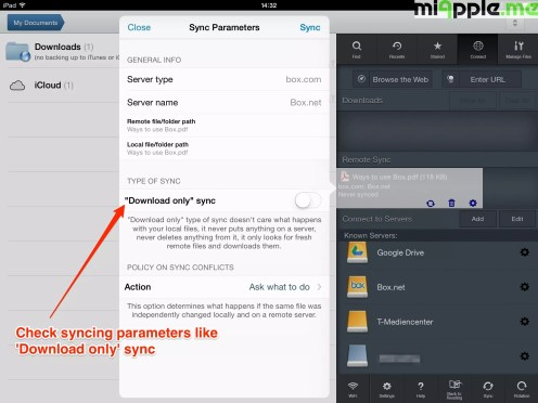 GoodReader File Manager syncing: Check syncing parameters like 'Download only' sync.