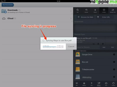 GoodReader File Manager syncing: File syncing in progress.
