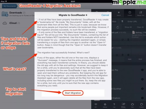 GoodReader 4 migration assistant step 3: Tap to start migration