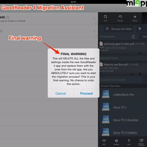 GoodReader 4 migration assistant step 4: Final warning