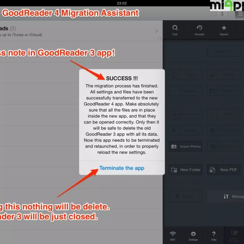 GoodReader 4 migration assistant step 5: Success note in GoodReader 4 app!