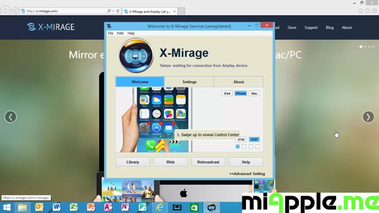 X-Mirage for Windows 1.0.1.2 setup instructions step 1: Swipe to reveal control center