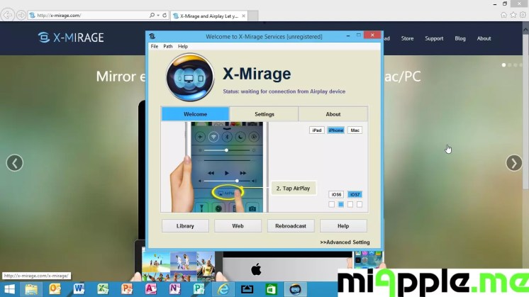 X-Mirage for Windows 1.0.1.2 setup instructions step 2: Tap 'AirPlay'
