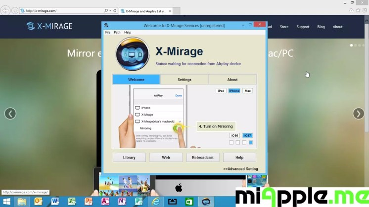 X-Mirage for Windows 1.0.1.2 setup instructions step 4: Turn on mirroring