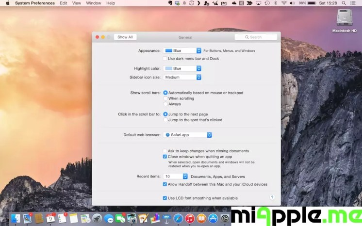 Mac OS X 10.10 Yosemite Light Mode