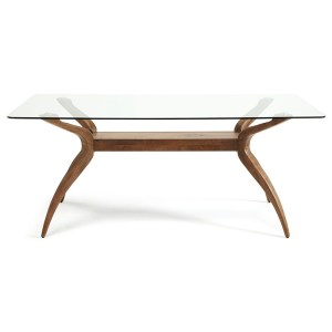 islington glass and walnut table