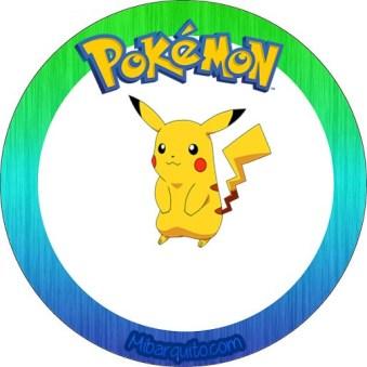 Etiqueta redonda pikachu personajes pokemon - imprimibles gratis pokemon